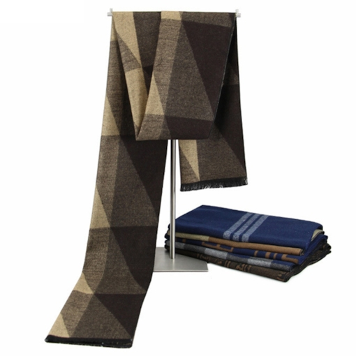 Geometric Design Brushed Men's Scarf