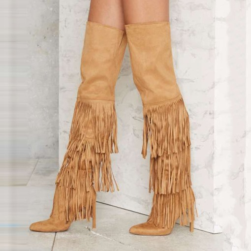 Pointed Toe Side Zipper Knee-High Suede Plain Tassel Women's Boots