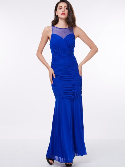 Sheath Zipper-Up Scoop Ruched Floor-Length Evening Dress