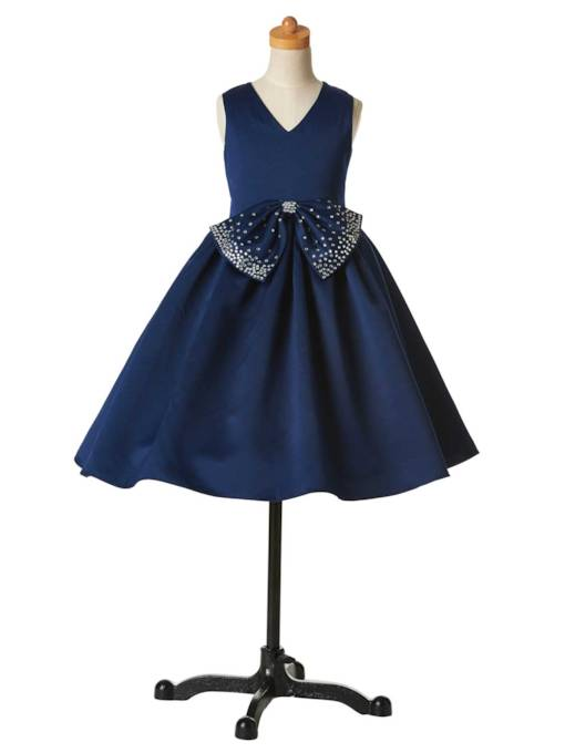 V-Neck Bowknot Flower Girl Party Dress