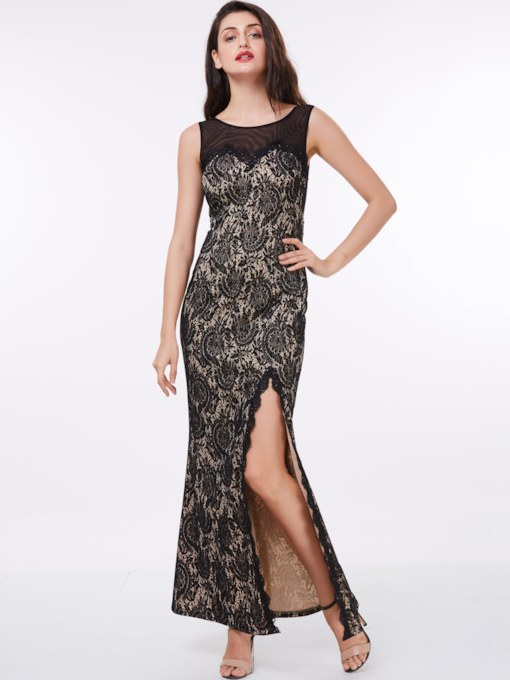 Sheath Scoop Lace Split-Front Ankle-Length Evening Dress
