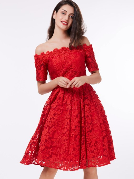 A-Line Off-the-Shoulder Short Sleeves Lace Knee-Length Cocktail Dress
