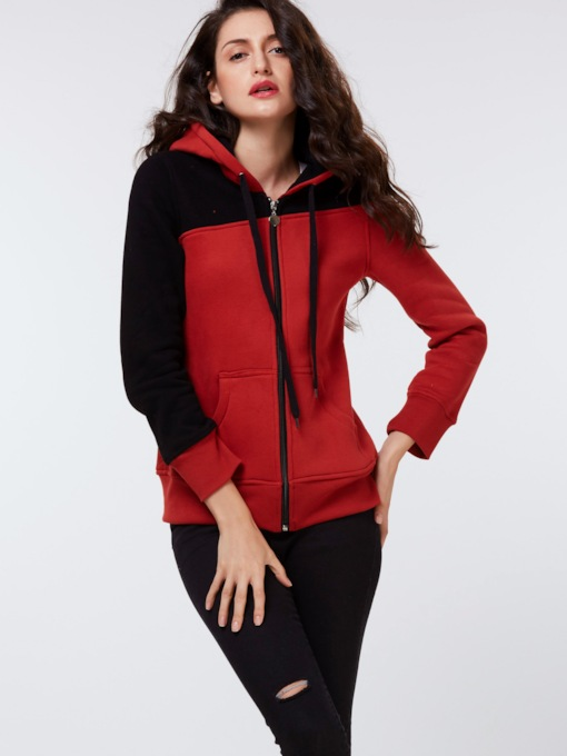 Color Block Asymmetric Zipper Women's Hoodie