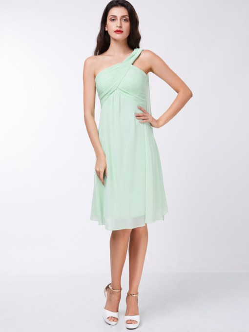 A-Line One-Shoulder Ruched Knee-Length Cocktail Dress