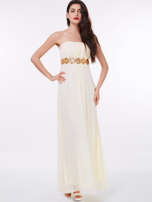 A-Line Strapless Draped Sequins Floor-Length Evening Dress