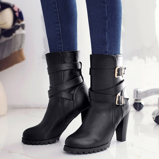 Cross Strap Slip-On Ankle Round Toe Women's Boots