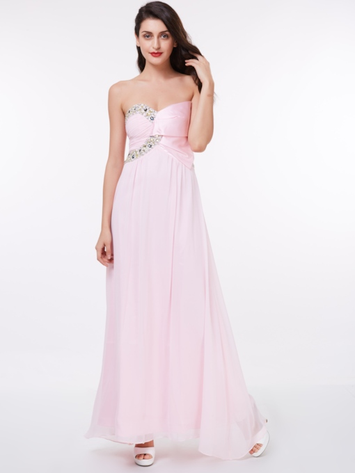 A-Line Pleats Sweetheart Beading Floor-Length Evening Dress