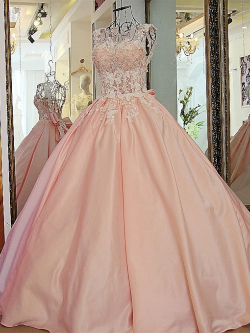 Scoop Appliques Ball Gown Beading Sweep Train Quinceanera Dress