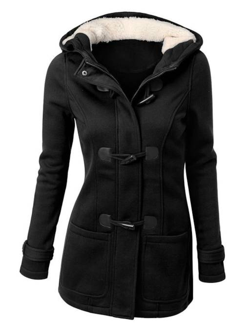 Horn Button Single-Breasted Stand Collar Long Sleeve Women's Hoodie
