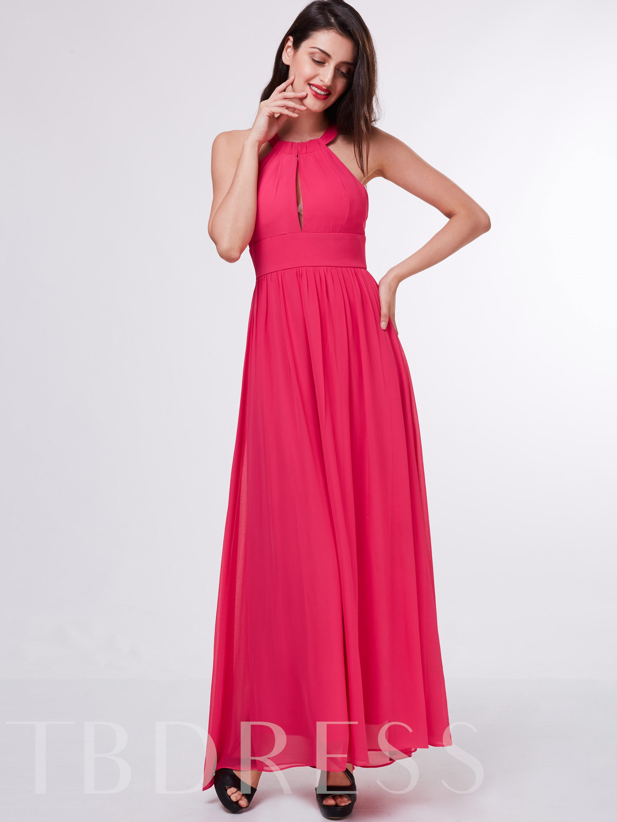 Image of A-Line Draped Halter Ankle-Length Evening Dress
