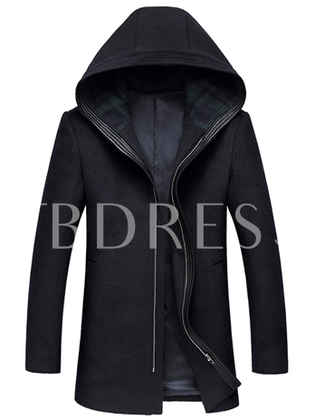 Hooded Zipper Solid Color Plain Men's Trench Coat