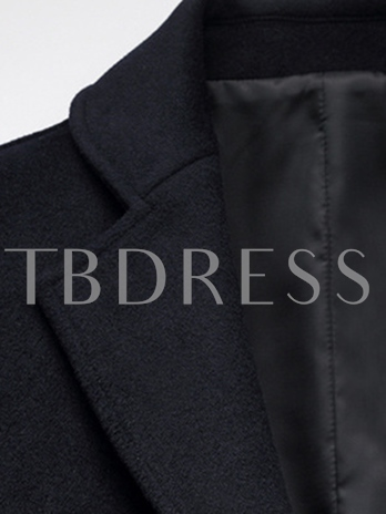 Men's Lapel Plain Coat with Single-Breasted