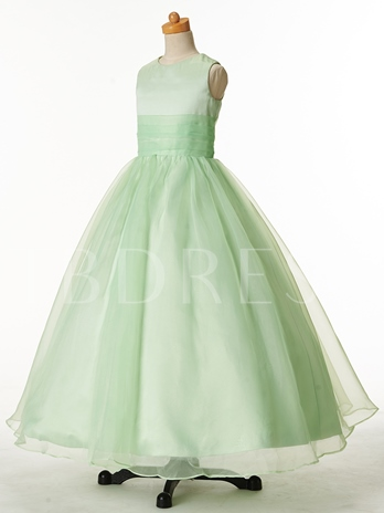 Jewel Neck Zipper-Up Ball Gown Flower Girl Dress