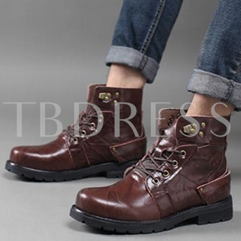 Round Toe Square Low Heel Ankle Cross Strap Men's Boots