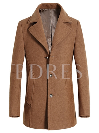 Men's Lapel Single-Breasted Coat with Pockets