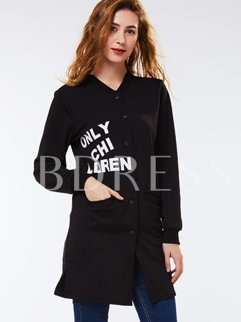 Letter Single-Breasted Double Pocket Long Sleeve Women's Jacket