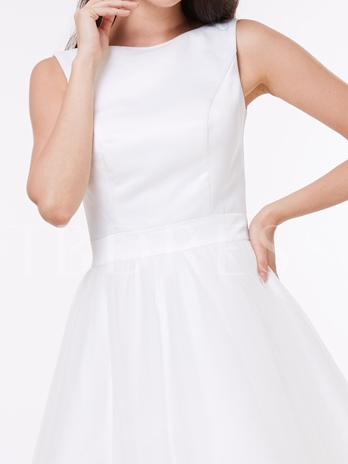 A-Line Round Neck Bowknot Knee-Length Cocktail Dress