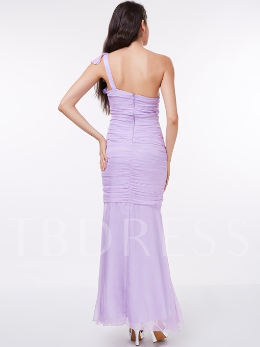 Sheath One-Shoulder Ruched Ruffles Ankle-Length Evening Dress