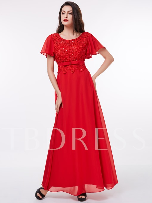 A-Line Scoop Short Sleeves Lace Sequins Floor-Length Evening Dress