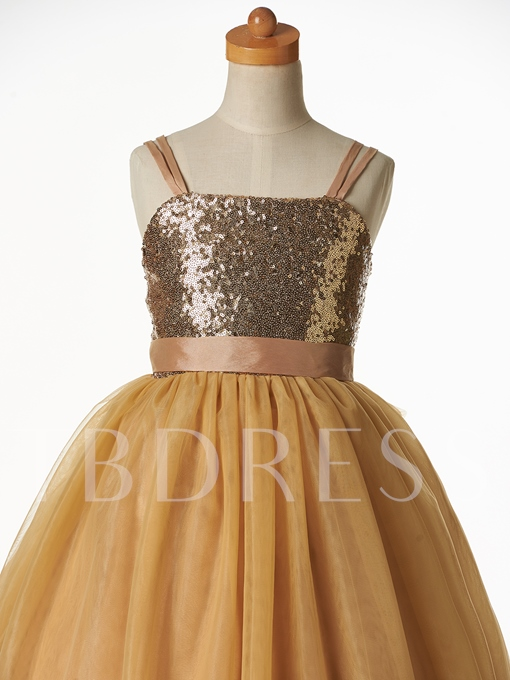 Straps Sequins Ball Gown Flower Girl Dress