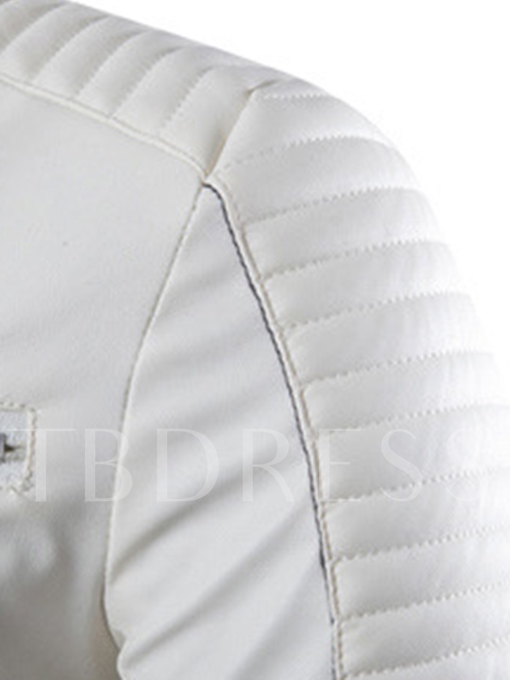 Men's Solid Color PU Jacket with Zip Decorated