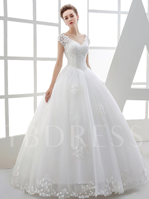 V-Neck Appliques Beaded Ball Gown Wedding Dress