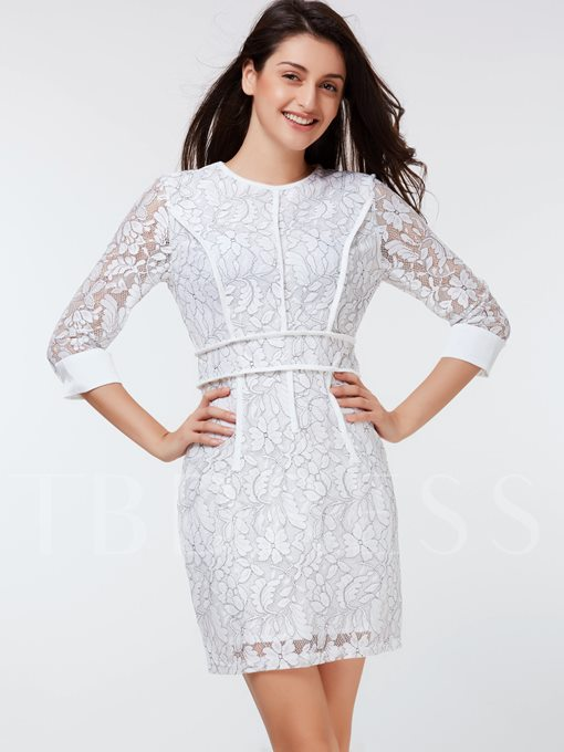 Floral Three-Quarter Sleeve Women's Sheath Dress (Plus Size Available)