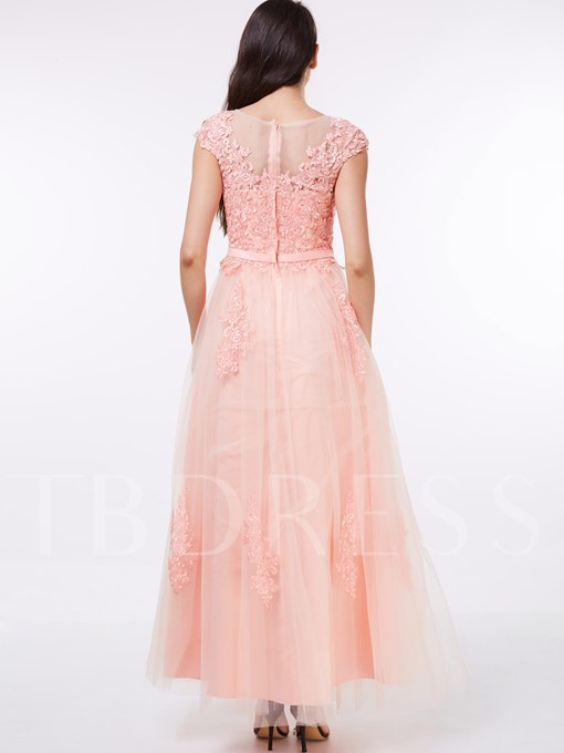 A-Line Jewel Cap Sleeves Appliques Sashes Floor-Length Evening Dress