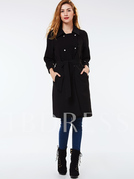 Double-Breasted Lapel Belt Pocket Women's Overcoat