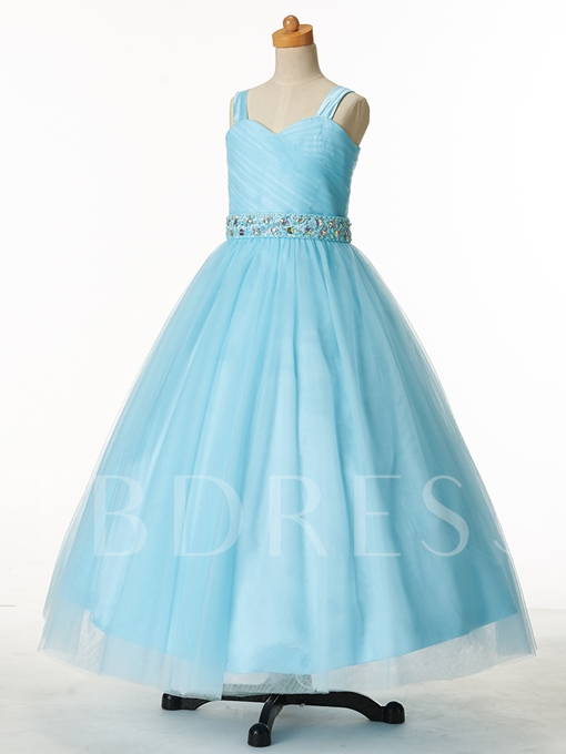 Straps Ball Gown Flower Girl Party Dress