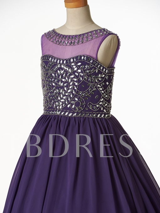 Jewel Beaded Flower Girl Party Dress