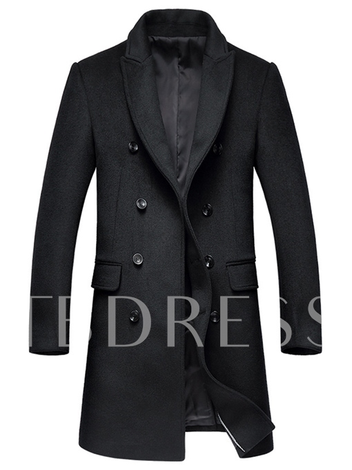 Notched Collar Double-Breasted Slim Men's Trench Coat