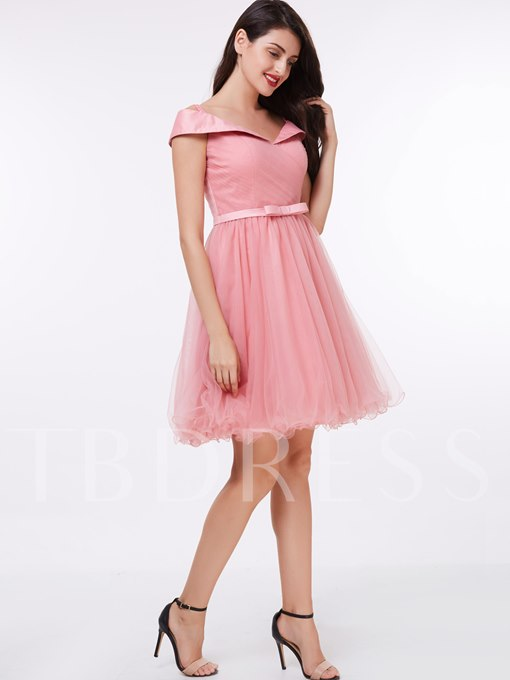 A-Line Off-the-Shoulder Sashes Knee-Length Cocktail Dress