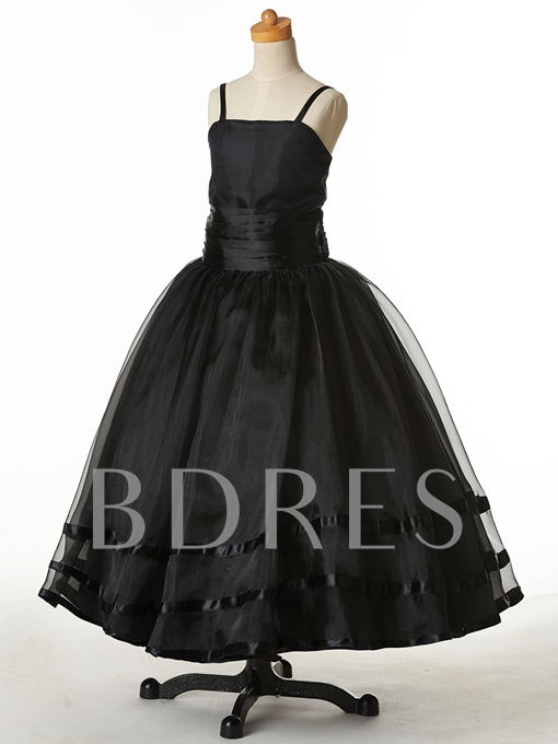 Spaghetti Straps Ball Gown Flower Girl Party Dress
