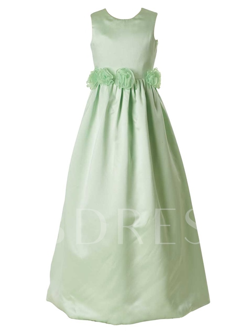 Jewel Neck Zipper-Up A-Line Floor-Length Flower Girl Dress
