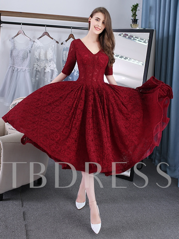 Half Sleeves Lace Tea-Length Prom Dress