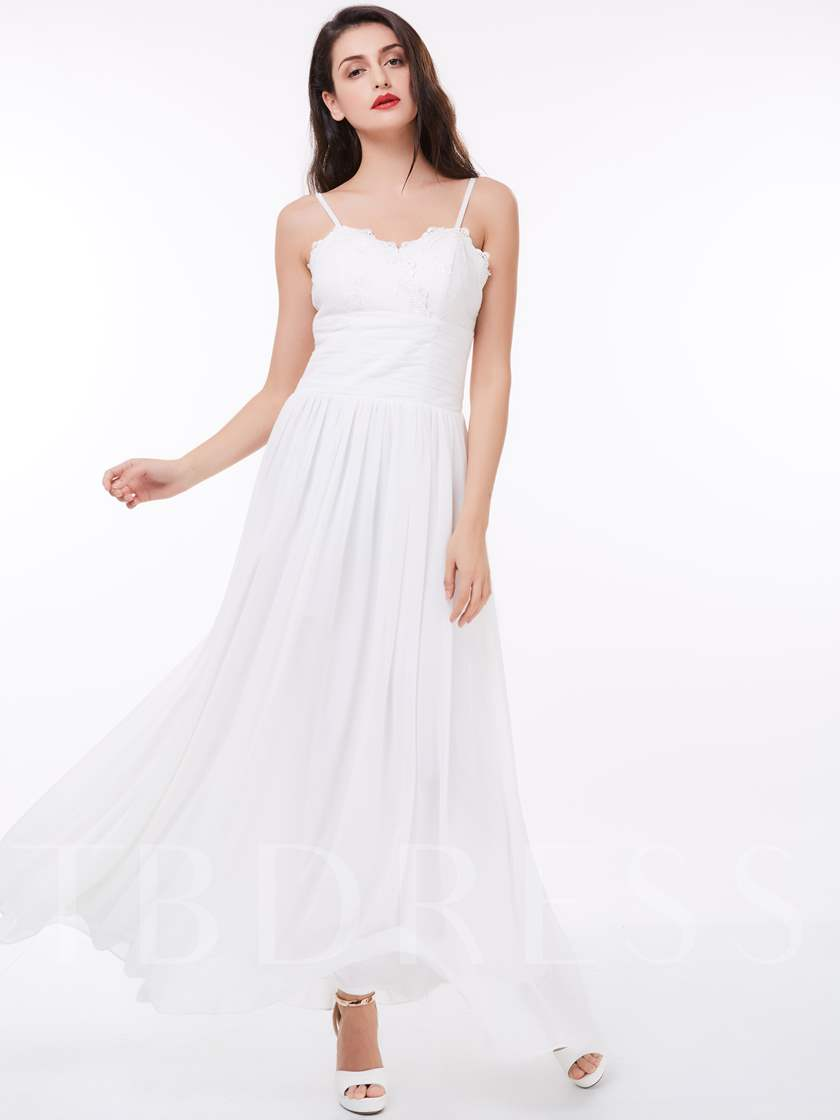 A-Line Spaghetti Straps Draped Lace Ankle-Length Evening Dress