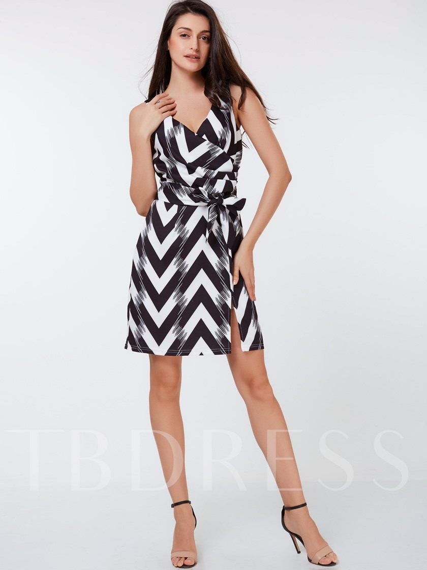 Stripe Asymmetrical Sleeveless Women's Sheath Dress