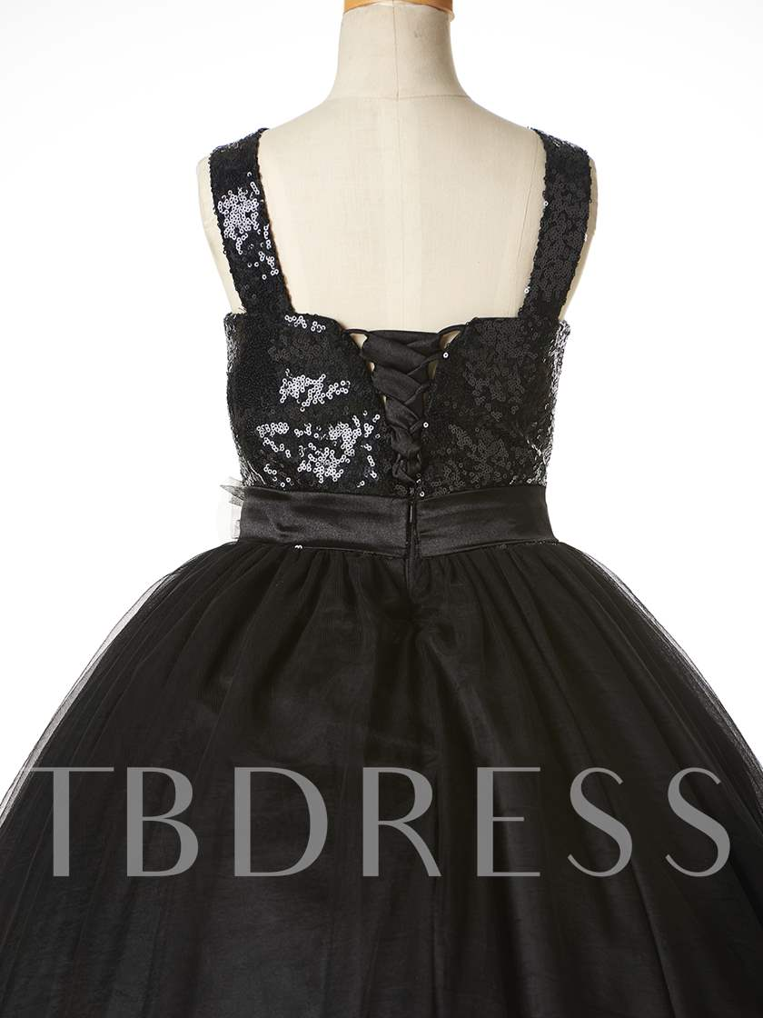 Straps Sequins Ball Gown Flower Girl Party Dress