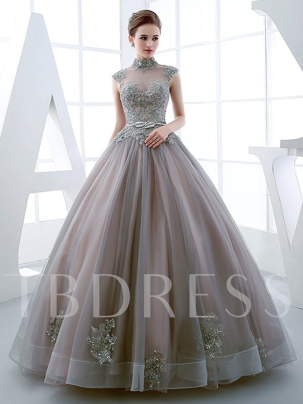 High Neck Sashes Ball Gown Appliques Beaded Floor-Length Quinceanera ...