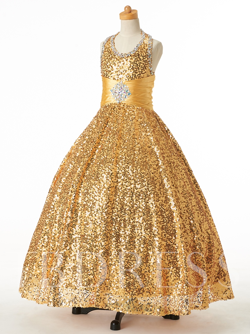 Halter Sequins Beading Ball Gown Flower Girl Dress