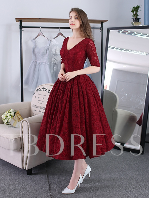 A-Line V-Neck Half Sleeves Lace Tea-Length Prom Dress