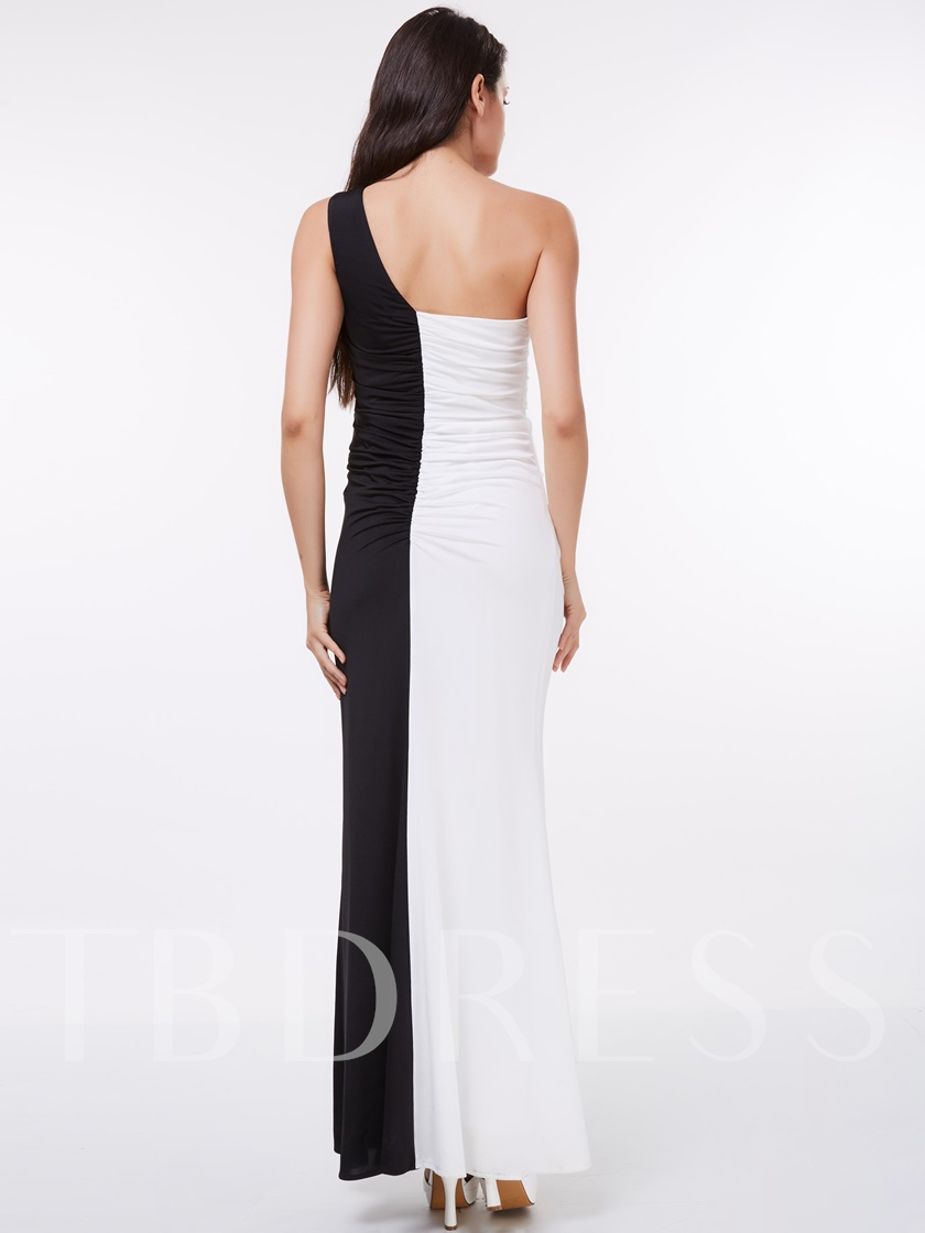 One-Shoulder Sheath Beading Floor-Length Evening Dress