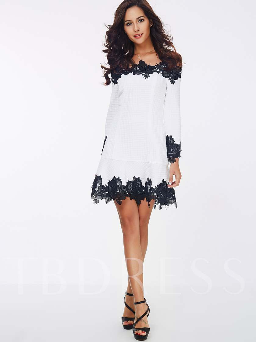 Slash Neck Lace Patchwork A-Line Women's Day Dress