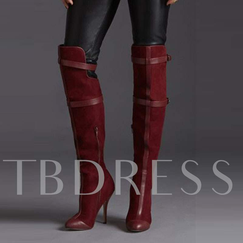Side Zipper Knee-High Pointed Toe Patchwork Color Block Women's Boots