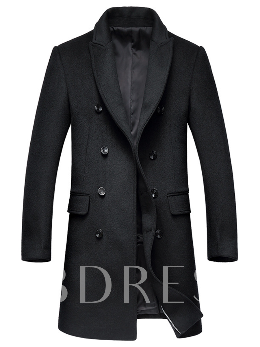 Buy Notched Collar Double-Breasted Slim Men's Trench Coat, Spring,Fall, 12454981 for $65.99 in TBDress store