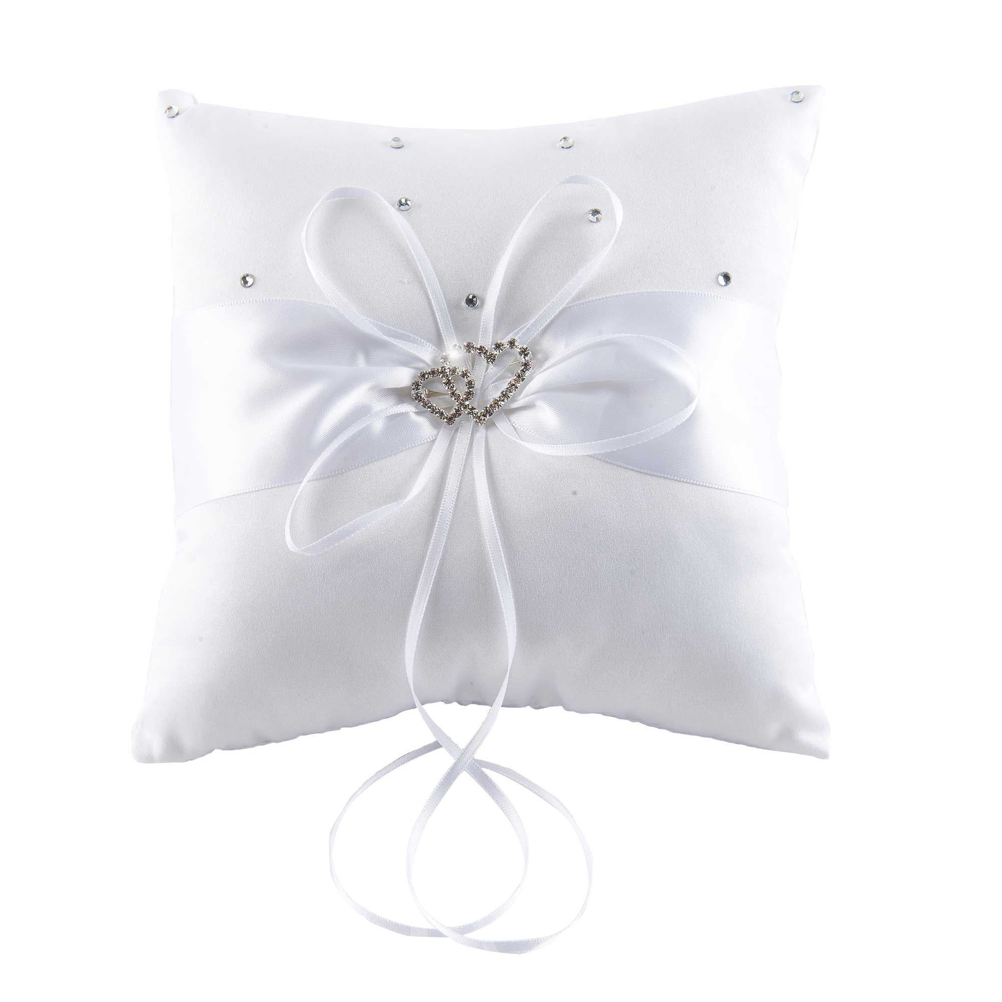 Beading Wedding Ring Pillow with Ribbons