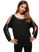 Black Hollow Sequined Women's Blouse