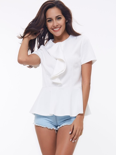 Frill Solid Color Round Neck Short Sleeve Slim Women's Blouse