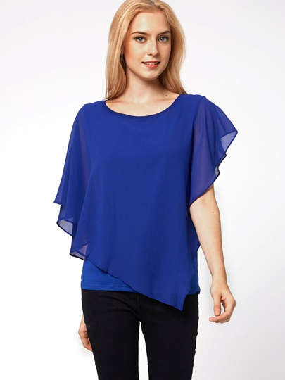 Falbala Short Sleeve Chiffon Women's Blouse